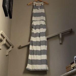 Splendid striped racer back dress w side slit